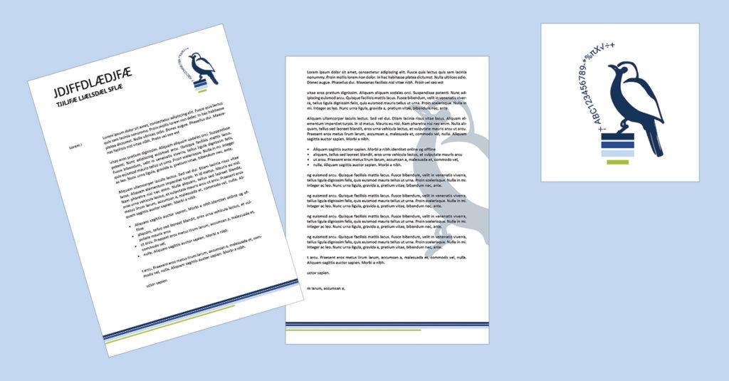 Design af brevpapir med logo designet af Nyborg grafik & Web