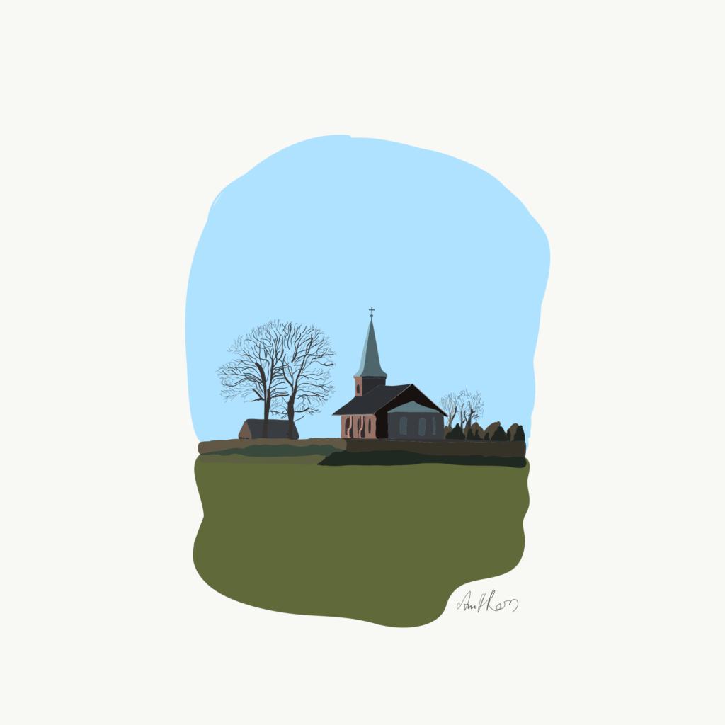 Illustration af Hjulby kirke i farver