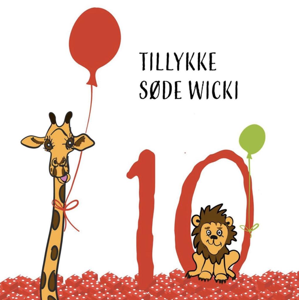 Fødselsdagskort illustration med giraf og løve