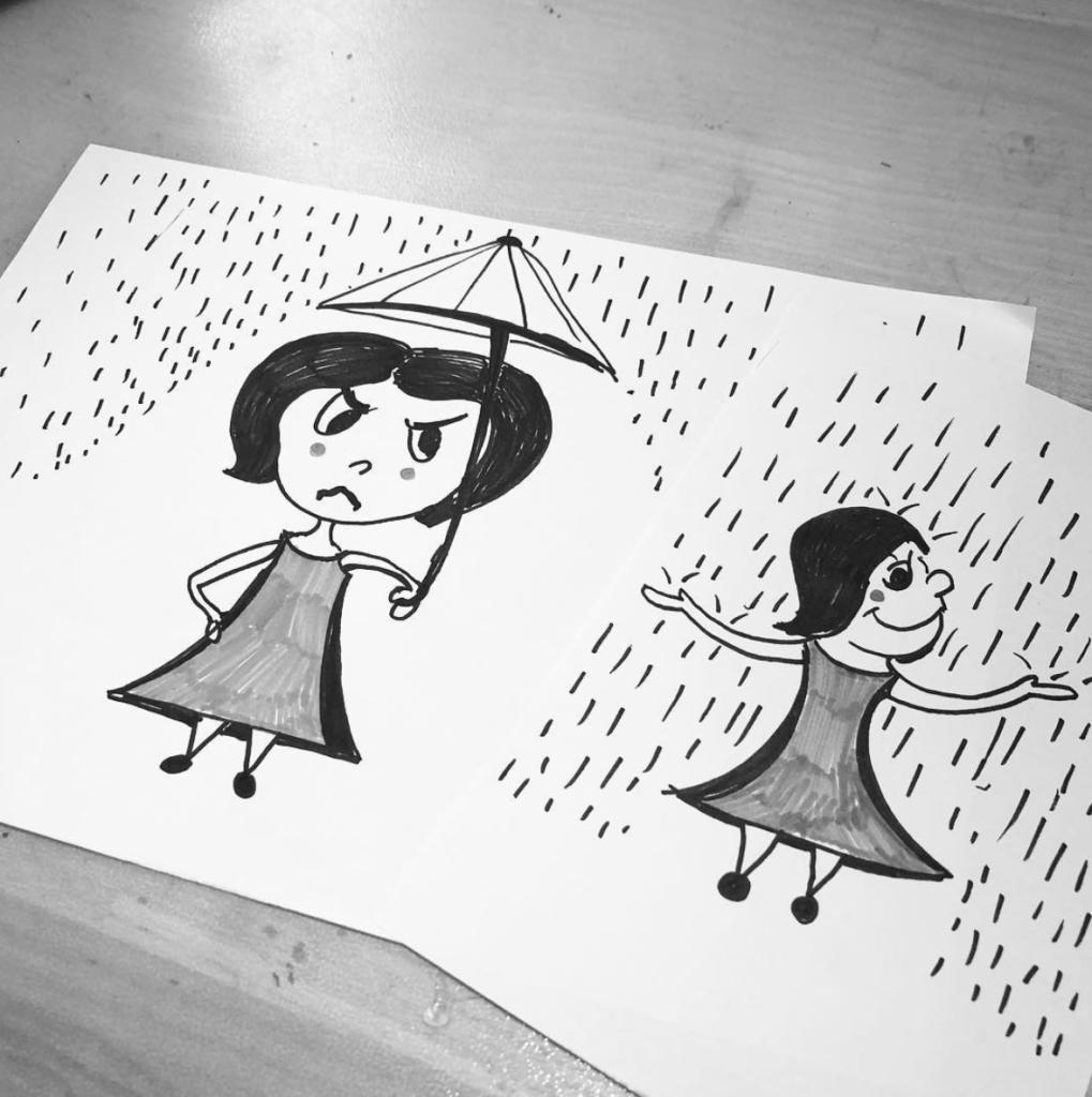 Illustration af dame i regnen med paraply og uden paraply